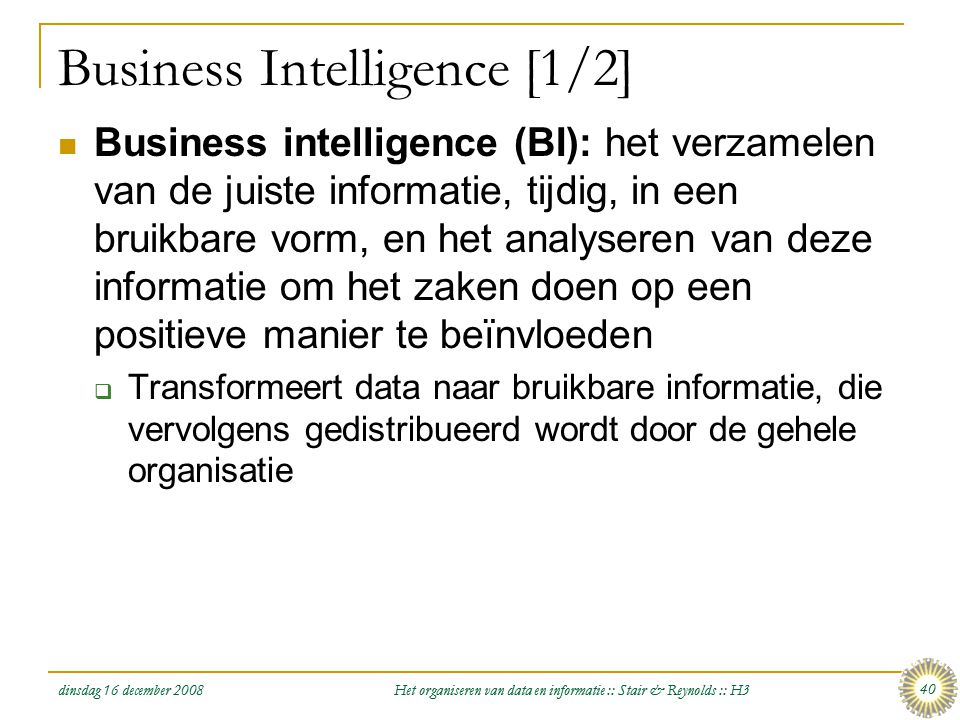 Business Intelligence [1/2]